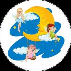 Three Fairies Flying at Night Sticker