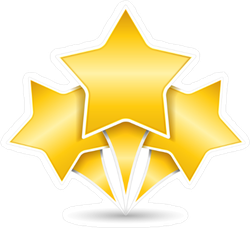 Three Golden Stars Sticker