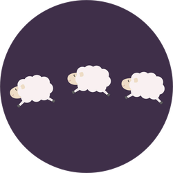 Three Jumping Sheep On Dark Purple Background Sticker