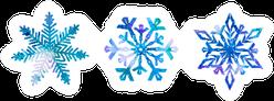Three Snowflakes In Watercolor Sticker