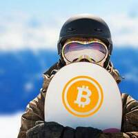 Crypto Currency Bitcoin Sticker on a Snowboard example