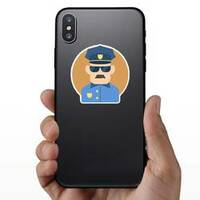 Policeman Flat Illustration Sticker on a Phone example