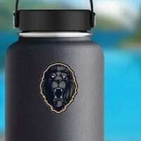 Roaring Lion Head Mascot Mascot Sticker on a Water Bottle example