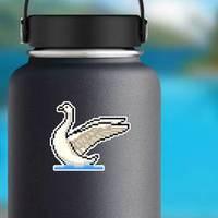 Pixel Art Swan Isolated Cartoon Sticker example