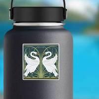 White Swan Decorative Border Pattern Illustration Sticker example
