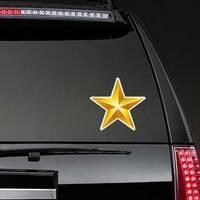 Elegant 3D Gold Star Sticker on a Rear Car Window example