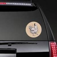 Chicken Hand Drawn Illustration On Brown Sticker example