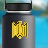 Stylized Eagle From German Coat Of Arms Sticker on a Water Bottle example