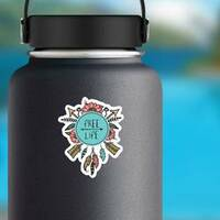 Boho And Hippie Style Free Life Sticker on a Water Bottle example