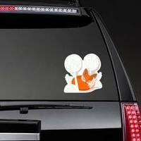 Fox Kit Sleeping in the Trees Sticker on a Rear Car Window example