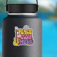 Retro Style Peace Love Music Hippie Sticker on a Water Bottle example