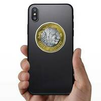 British One Pound Sticker on a Phone example