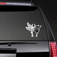 Stylized Dancing Cranes In A Japanese Hieroglyph Sticker example