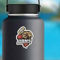 Lion Hockey Emblem Sticker on a Water Bottle example