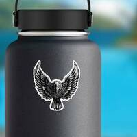 Menacing Eagle Illustration Sticker on a Water Bottle example