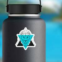 Triangle Lion Illustration Sticker on a Water Bottle example