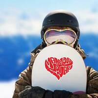 Make Love Heart Hippie Sticker on a Snowboard example