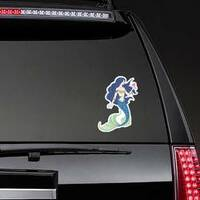 Hand Drawn Mermaid Holding A Flower Sticker on a Rear Car Window example