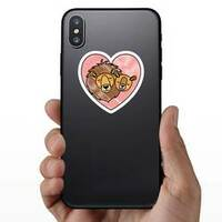 Wild Lion Couple In Heart Sticker on a Phone example