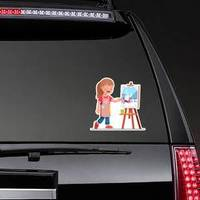 Smiling Artist Girl Painting Winter Picture Sticker example