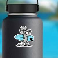 Cool Alien Surfer Sticker on a Water Bottle example