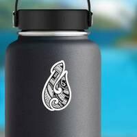 Maori Ethnic Style Fish Hook Tattoo Sticker on a Water Bottle example