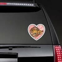 Wild Lion Couple In Heart Sticker on a Rear Car Window example