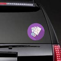 Playing Cards And Poker Chips On Purple Sticker example