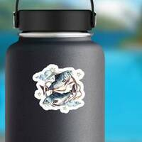 Pisces Watercolor Sticker on a Water Bottle example