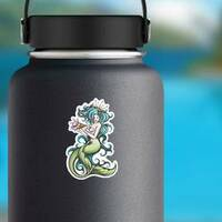 Blue Haired Siren Mermaid Sticker on a Water Bottle example
