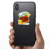 Leather Wallet with Lots of Money Sticker on a Phone example