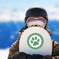 Green Paw Print Banner Sticker