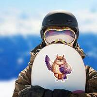 Watercolor Hawaii Dance Owl Sticker on a Snowboard example