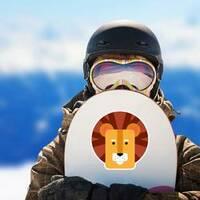Cute Kids Lion Head Sticker on a Snowboard example