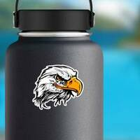 Bald Eagle Head Mascot Sticker on a Water Bottle example