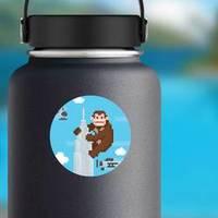 Gorilla On A Top Of Skyscraper Pixel Art Sticker