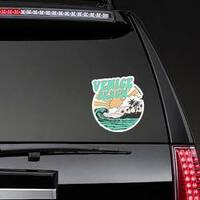California Venice Beach Typography Sticker on a Rear Car Window example