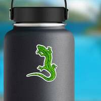 Lizard With Pattern On His Back Sticker on a Water Bottle example