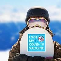 Blue Square Covid-19 Vaccine Sticker example