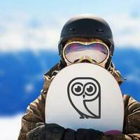 Simple Owl Icon Sticker on a Snowboard example