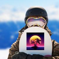 1980s Futuristic Palm Tree Island Sticker