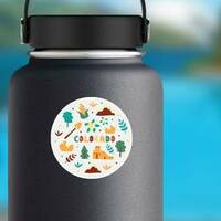 Illustration Of Colorado State Symbols Sticker on a Water Bottle example