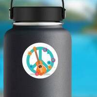 Guitar & Flowers Hippie Peace Symbol Sticker on a Water Bottle example