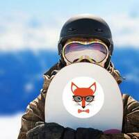 Fox Wearing Bowtie and Sunglasses Sticker on a Snowboard example