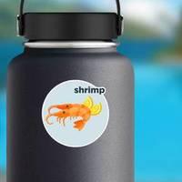 Shrimp With Lemon Illustration Lettering Sticker