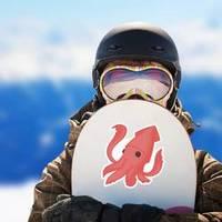 Red Cute Squid Sticker