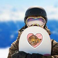 Wild Lion Couple In Heart Sticker on a Snowboard example