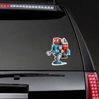 Retro Robot With Jetpack Sticker on a Rear Car Window example