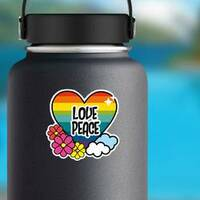 Nice Hippie Heart With Flowers And Cloud Sticker on a Water Bottle example