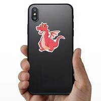 Funny Red Dragon Cartoon Sticker on a Phone example